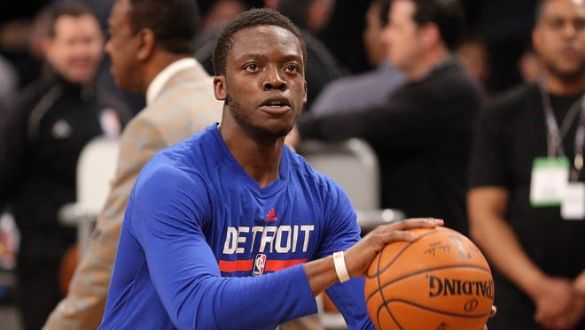 Pistons point guard Reggie Jackson before a game in Brooklyn against the Nets on March 21, 2017.