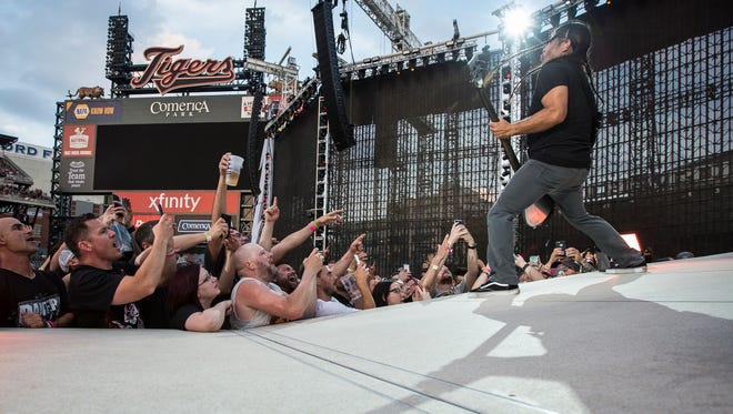 Metallica's bassist Robert Trujillo performs during a concert at Comerica Park, Wednesday, July 12, 2017.