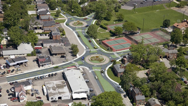 A rendering shows a roundabout in Columbia Township.