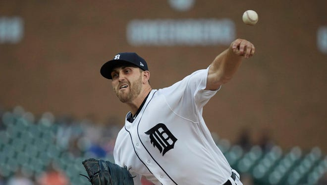 Aug 22, 2017; Detroit, MI, USA; Tigers' Matthew Boyd pitches in the first inning against the Yankees at Comerica Park.