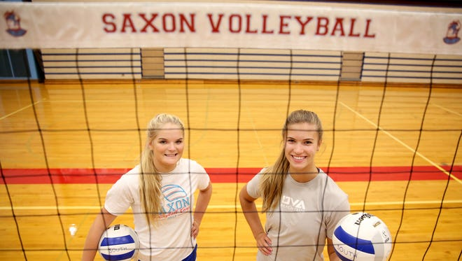 South Salem volleyball outside hitters Bridgette O'Connor, left, and Selbie Christensen photographed at South Salem High School on Wednesday, Sept. 13, 2017.