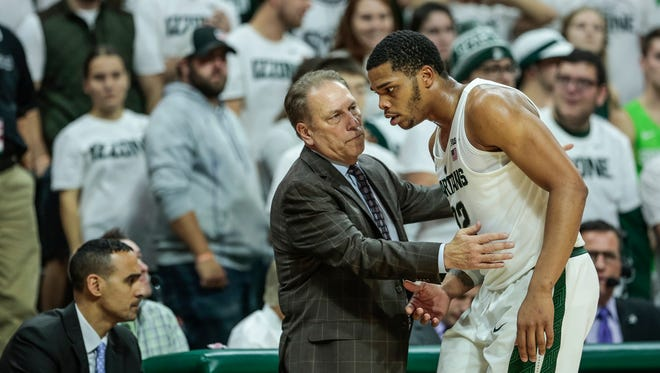 Michigan State coach Tom Izzo talks to Miles Bridges during the second half of MSU's 93-71 win over Stony Brook on Nov. 19, 2017 at Breslin Center.