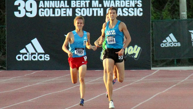 Chiles senior Avery Bartlett attempts to hold off three-time Utah state champion Connor Mantz in a sprint to the finish during the 39th annual Golden South Classic.