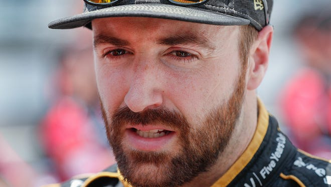 Schmidt Peterson Motorsports IndyCar driver James Hinchcliffe (5) looks on in dejection following his run on qualification day for the Indianapolis 500 at the Indianapolis Motor Speedway on Saturday, May 19, 2018.
