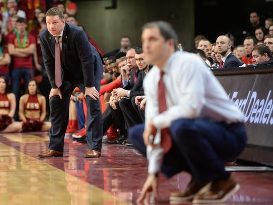 Texas Tech Red Raiders head coach Chris Beard watches action against the Iowa State Cyclones during the second half at James H. Hilton Coliseum.