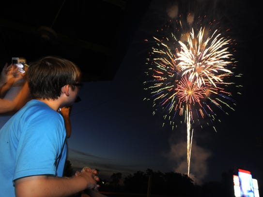 Fireworks from Riverwalk Stadium in Montgomery.