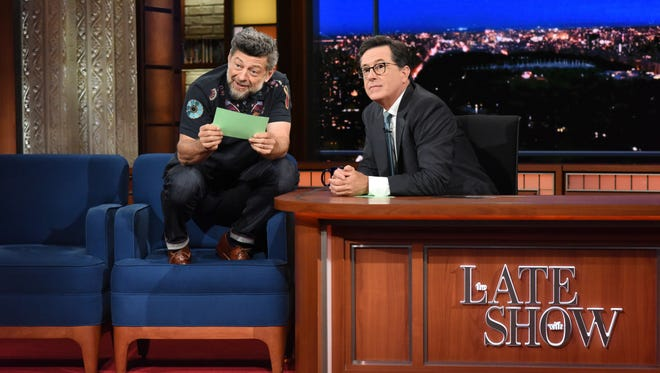 Stephen Colbert, right, with guest Andy Serkis.