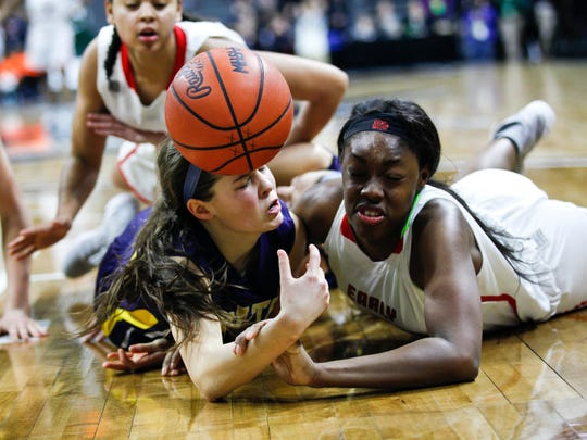 Pewamo-Westphalia girls basketball plays against Rickea Jackson (5) of Detroit Edison for the Class C championship  in East Lansing, Mich., Saturday, March 18, 2017