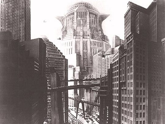 """Metropolis"" features director Fritz Lang's vision of a Cyclopean future city. Unbeknown to most of its inhabitants, the city only functions because of the labor of an underground workforce."