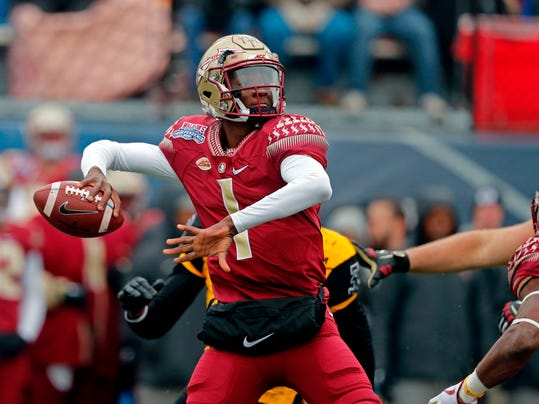 FILE - In this Dec. 27, 2017, file photo, Florida State quarterback James Blackman (1) passes in the first half of the Independence Bowl NCAA college football game against Southern Mississippi, in Shreveport, La. Blackman, who started 12 games last year, has competition from redshirt freshman Bailey Hockman while Deondre Francois continues to recover from a knee injury. (AP Photo/Gerald Herbert, File)