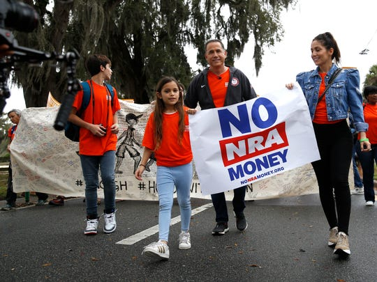 Former Miami Beach Mayor Philip Levine and his family lead a march to the Capitol Monday for the Rally in Tally.