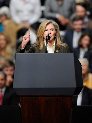 U.S. Rep. Marsha Blackburn addresses the crowd during a rally for President Donald Trump on March 15, 2017, at Municipal Auditorium in Nashville.
