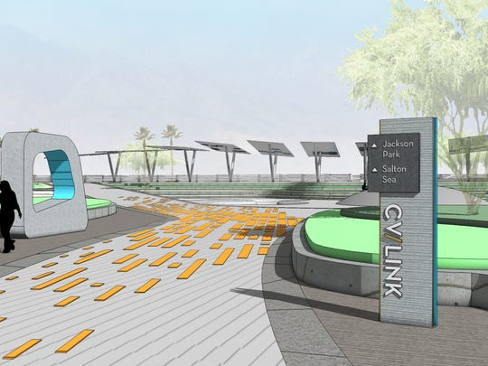 The latest rendering for the CV Link project includes colorful pavers and interactive stations showing impacts on air quality and greenhouse gases.