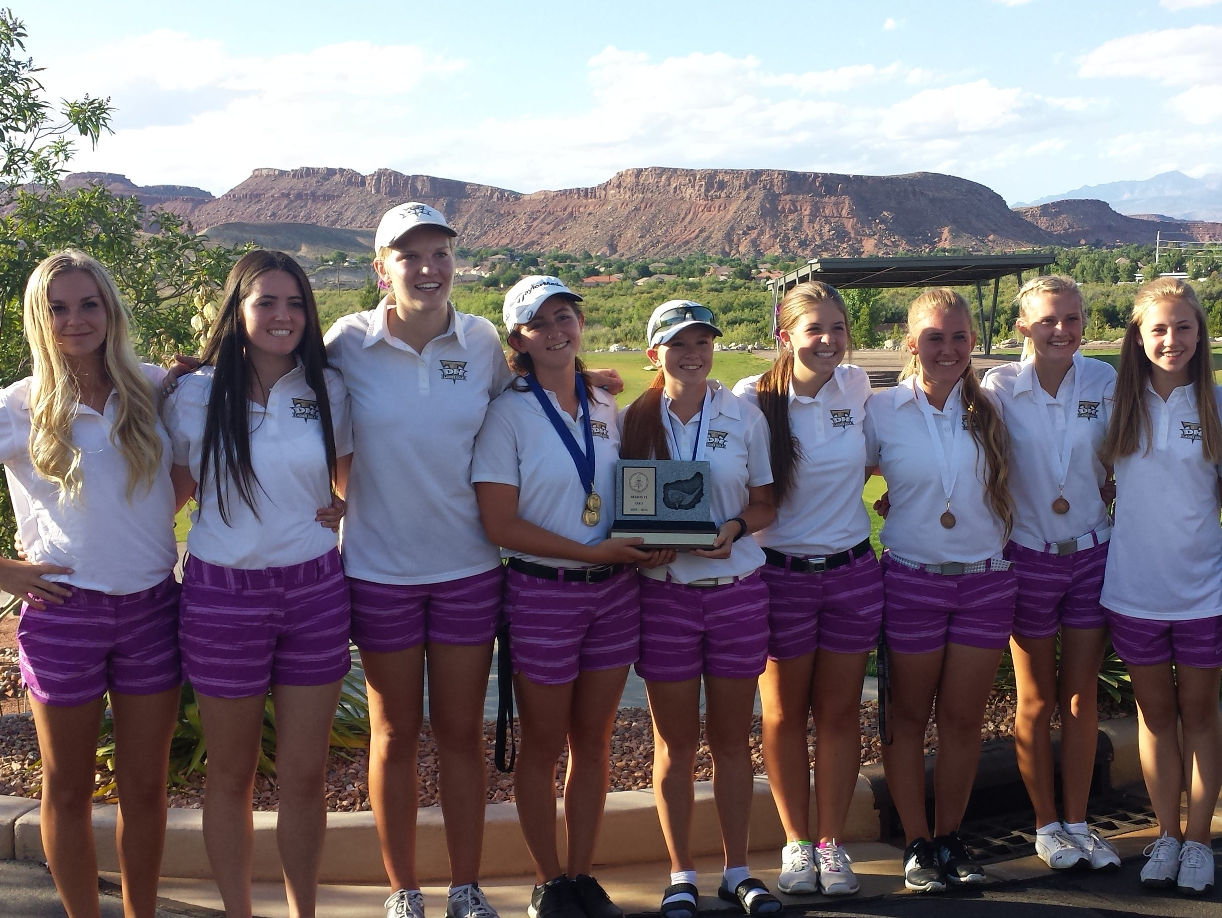 Desert Hills golfers smile after winning the Region 9 title at SunRiver Golf Club. The Thunder hold state records for most championships (6) as well as consecutive championships (6) and are once again the favorites to win the 3A tournament at Soldier Hollow this week.