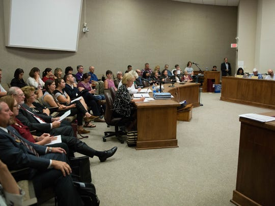 The Regents room at New Mexico State University was full during a special session, during which a vote four to zero was had to start the search for a new Chancellor. Wednesday Aug. 30, 2017.