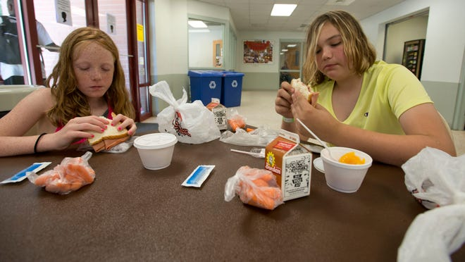 Ava Brown, 8, and Lea Hunt, 11, enjoys their Appetite4Life provided lunches while attending a city-run summer camp.