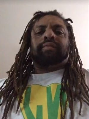Edward Forchion, also known as N.J. Weedman, in a screenshot of a video he took on the day he was arrested and charged in connection with witness tampering.