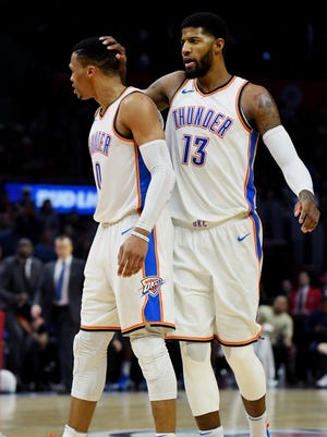 Russell Westbrook and Paul George combined for 60 points.