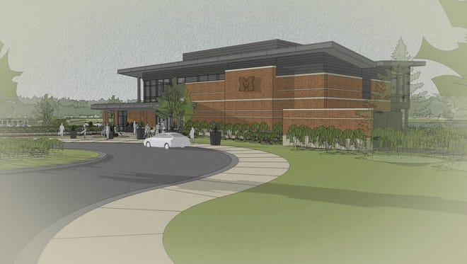 Concept image of the Richard L. Postma Family Clubhouse at the north entry.