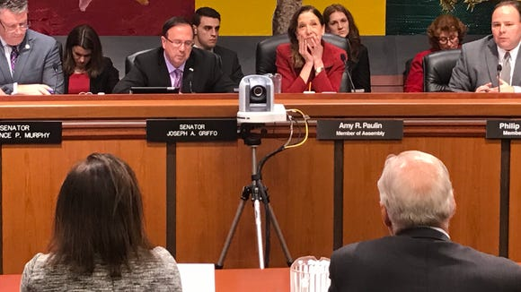 Public Service Commission Chair Audrey Zibelman and NYSERDA Chair Richard Kauffman testify at a joint legislative hearing Tuesday in Albany on the pending closure of the Indian Point nuclear power plant.