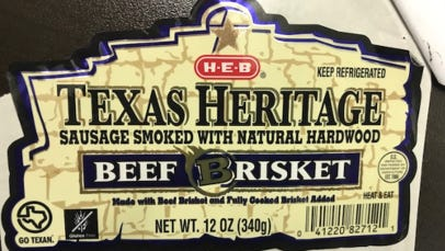 H-E-B Texas Heritage Sausage Smoked With Natural Hardwood Beef Brisket has been recalled due to concerns of mislabeling.