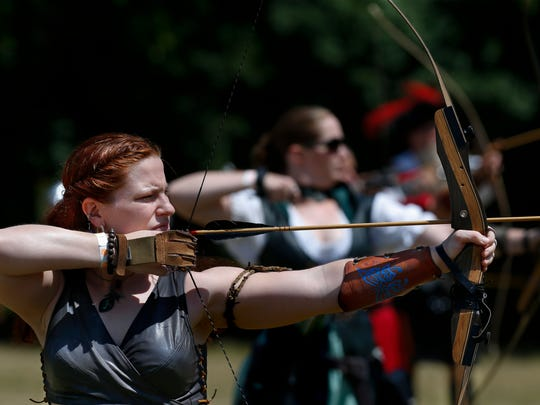 Lydia Sherrer takes aim at a target downfield before she let's go her arrow. Sherrer will take 2nd place in this women's tournament. 