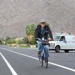Vic Yepello rides in a bike lane on Baristo Road in Palm Springs in November 2013. The California Household Travel Survey shows that the percentage of  residents biking, walking or using public transportation on a typical day has doubled since 2000.