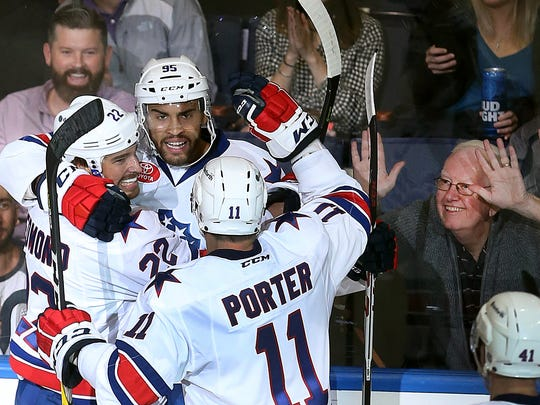 Justin Bailey celebrates one of the 62 goals he scored for the Amerks during his four seasons. He was traded to Philadelphia on Thursday.