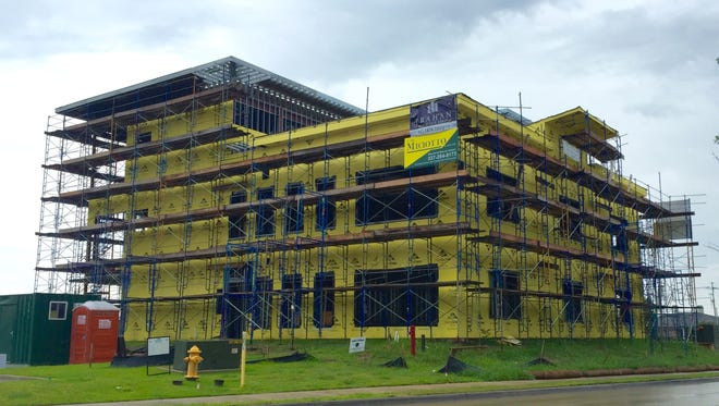Construction continues on the offices of Trahan Real Estate Group.