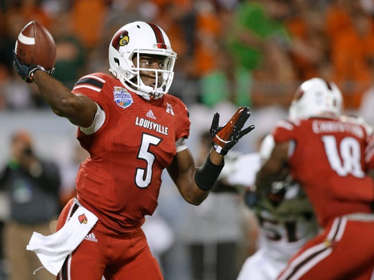 Louisville quarterback Teddy Bridgewater throws a pass against Miami during the first half of the Dec. 28 Russell Athletic Bowl in Orlando.