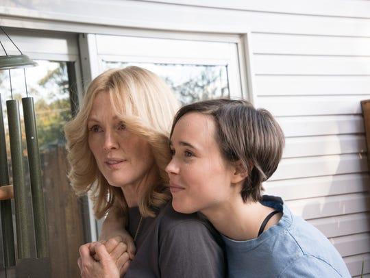 "Julianne Moore (left) and Ellen Page in ""Freeheld."""