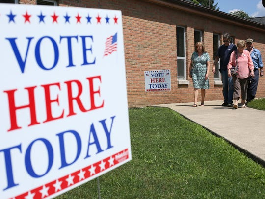 Voters leave Roscoe United Methodist Church Tuesday