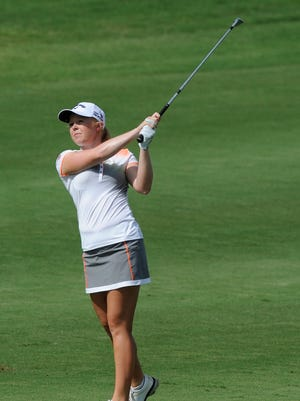 Former University of Alabama golfer Stephanie Meadow shot a 4-under 68 and is four shots off the pace.