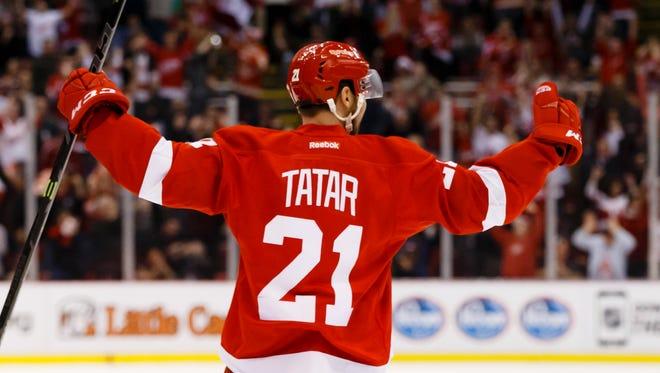 Dec 23, 2014; Detroit Red Wings left wing Tomas Tatar.