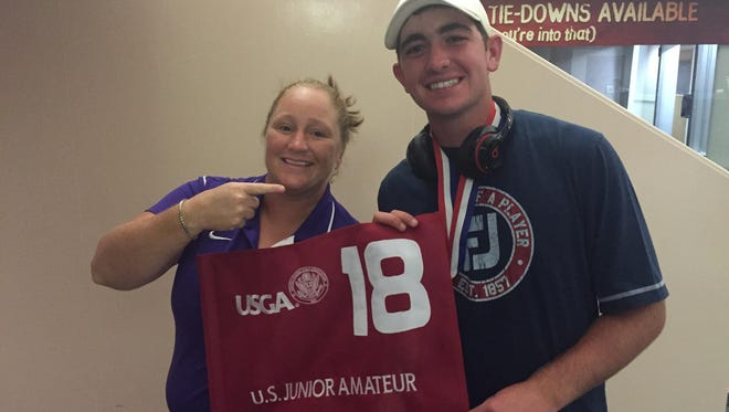 Shreveporters Meredith Duncan (left) and Philip Barbaree Jr. pose for a picture at Shreveport's airport Saturday night. Duncan was the last local to win a USGA event (2001 U.S. Women's Amateur) before Barbaree's triumph at the U.S. Junior Amateur on Saturday.