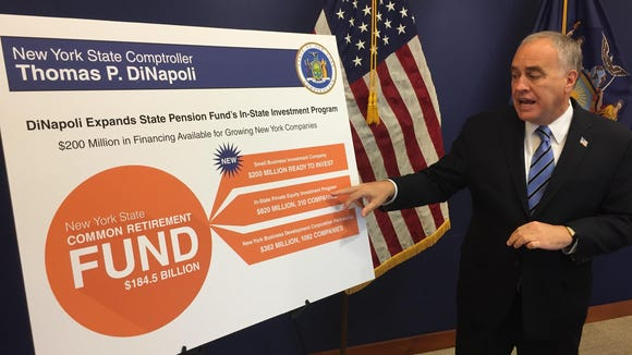 Comptroller Thomas DiNapoli discusses new pension investment on Tuesday, Nov. 10, 2015
