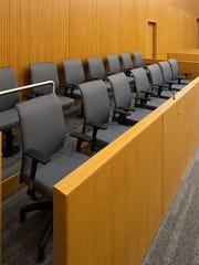 Courtroom jury box.