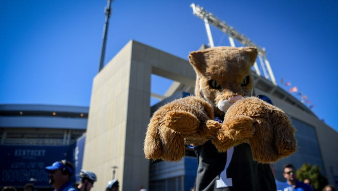 The Kentucky Wildcat mascot is seen before the game against Eastern Michigan University at The University of Kentucky's Kroger Field in Lexington, Ky, Saturday, September 30, 2017.