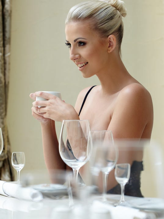 Woman at dinner