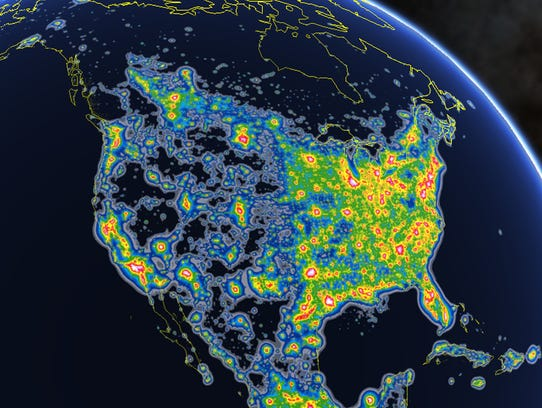 A light pollution map of North America shows that nearly