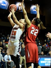 Carson-Newman's Katie Stubblefield is defended by Kyvin