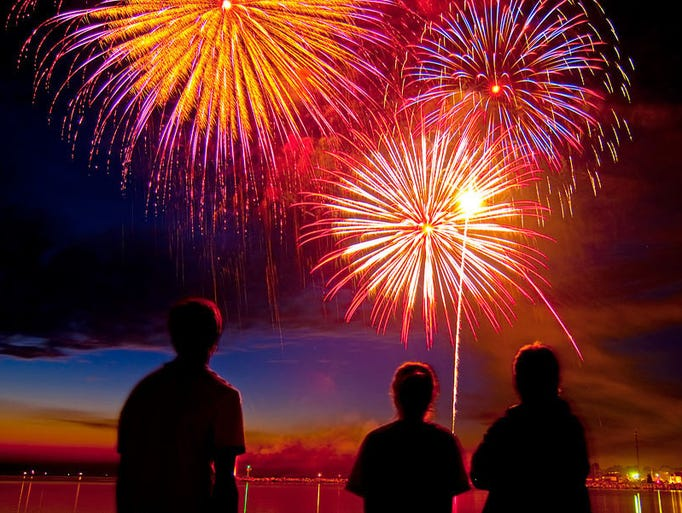LudingtonMI_Fireworks Over Lake Michigan in Ludington