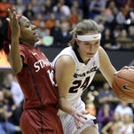 Oregon State guard Sydney Wiese rest on the court during the second half of an NCAA basketball game against Stanford in Corvallis, Ore., Thursday, Feb. 26, 2015. Stanford beat No. 7 ranked Oregon State 69-58. (AP Photo/Don Ryan)