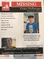 Grant Hofberger, 13, has been missing from his Beulah