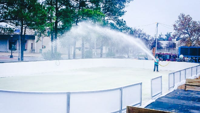 The ice skating rink was filled with water on Sunday.