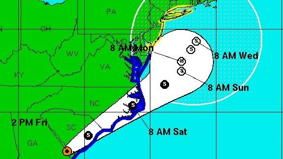 This National Weather Service map shows the projected path of Tropical Storm Hermine as of 2 p.m. Friday.