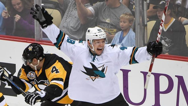 Sharks forward Tomas Hertl celebrates after scoring a goal in the second period against the Penguins at PPG Paints Arena on Thursday in Pittsburgh.