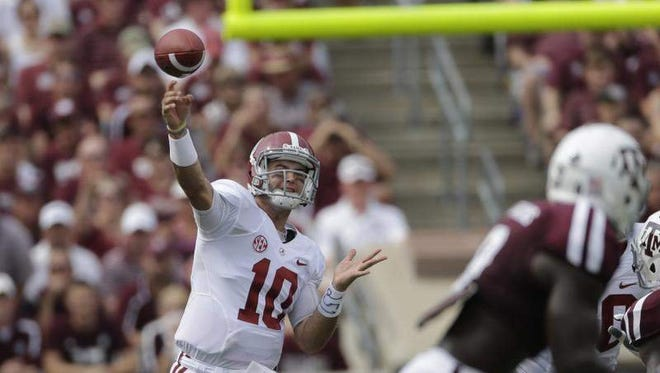 Alabama quarterback AJ McCarron has an efficiency rating of 164.72 this season. He's 90 for 126 passing for 1,048 yards and 10 touchdowns. He's thrown 48 more TDs than interceptions in his career.