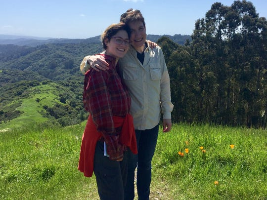 Susan Knoppow with her child Miriam Saperstein in California last month.