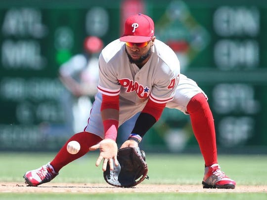 Philadelphia Phillies first baseman Carlos Santana